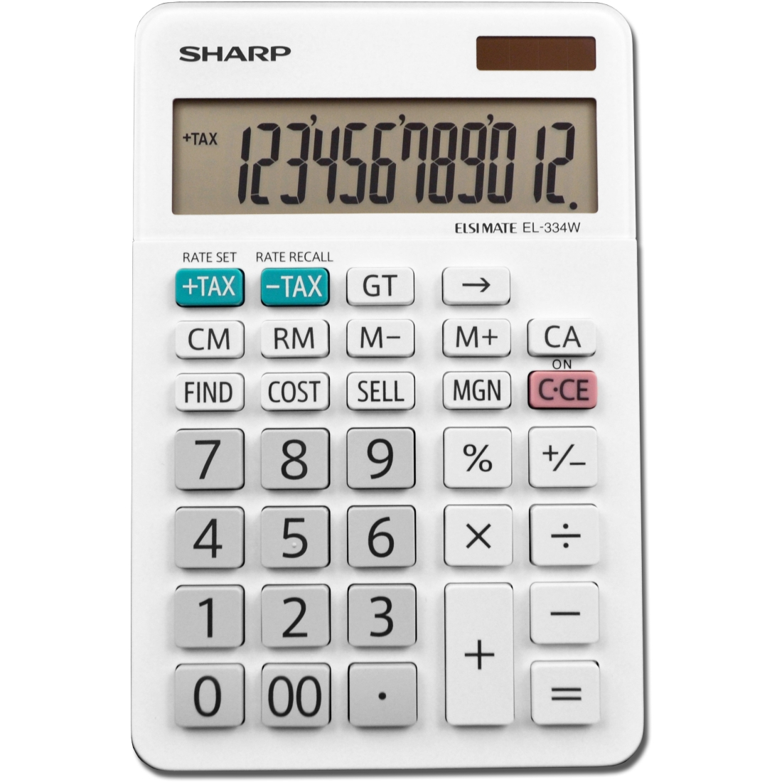 Sharp EL-334WB 12 Digit Professional Large Desktop Calculator with Kick Stand Display